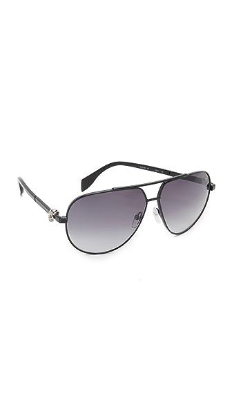 Alexander Mcqueen Skull Aviator Sunglasses - Black/Smoke at Shopbop