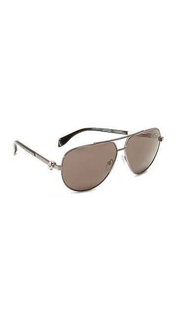 Alexander McQueen Skull Aviator Sunglasses