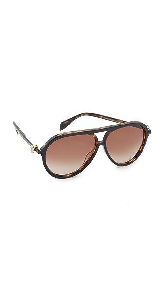 Alexander Mcqueen Skull Aviator Sunglasses - Black/Brown at Shopbop
