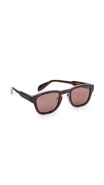 Alexander McQueen Солнцезащитные очки в квадратной оправе с металлической отделкой