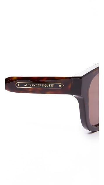 Alexander McQueen Square Metal Detail Sunglasses