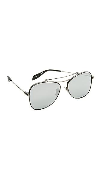 Alexander McQueen Piercing Flat Lens Aviator Sunglasses - Matte Black/Silver Mirror