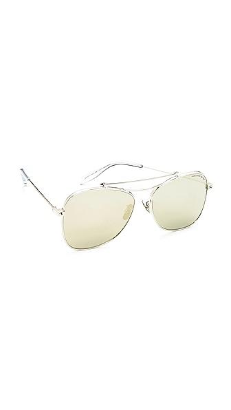 Alexander McQueen Piercing Flat Lens Aviator Sunglasses - Silver/Gold Mirror