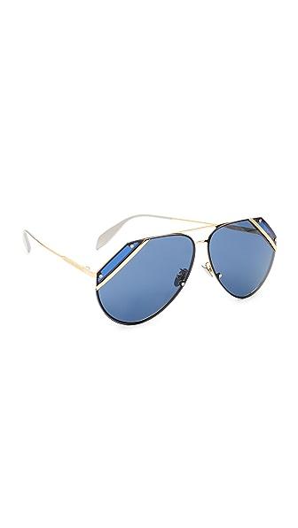 Alexander McQueen Couture Flat Lens Aviator Sunglasses - Endura Gold/Blue