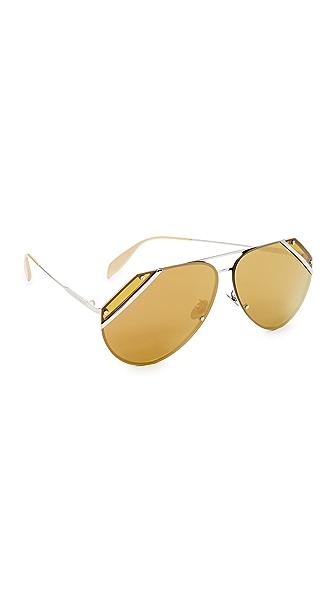 Alexander McQueen Couture Flat Lens Aviator Sunglasses - Silver/Green Bronze