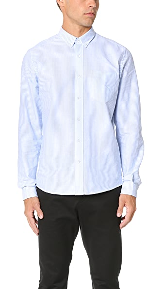 AMI Button Down Striped Oxford Shirt