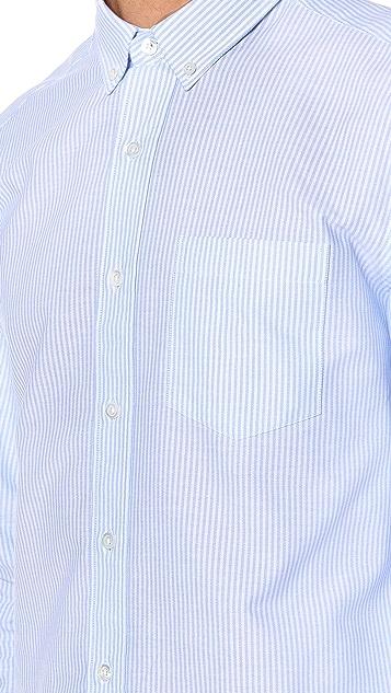 AMI Button Down Striped Oxford Shirt