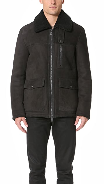 AMI Zipped Shearling Jacket