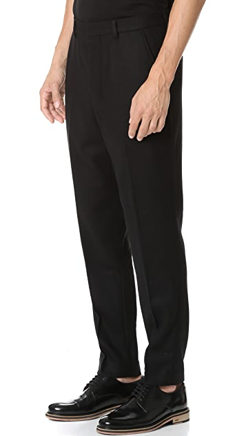 AMI Carrot Fit Wool Trousers