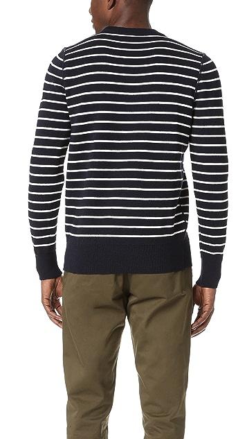 AMI Crew Neck Striped Sweater