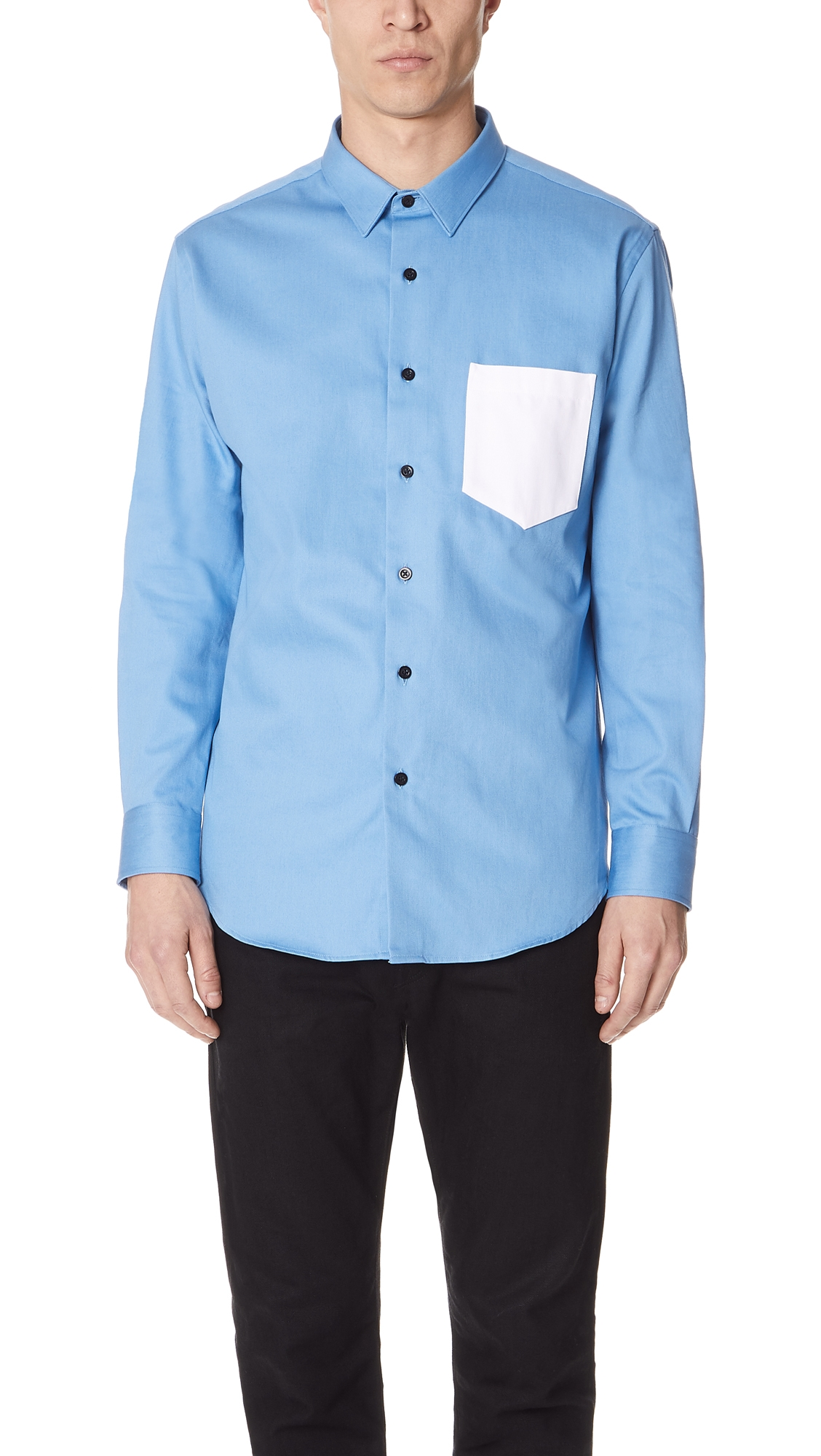 afdf674292b2 Ami Alexandre Mattiussi Summer Fit Shirt With Contrast Pocket In Sky Blue