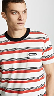 AMI Striped Crew Tee Shirt