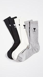 AMI AMI 3 Pack Crew Socks
