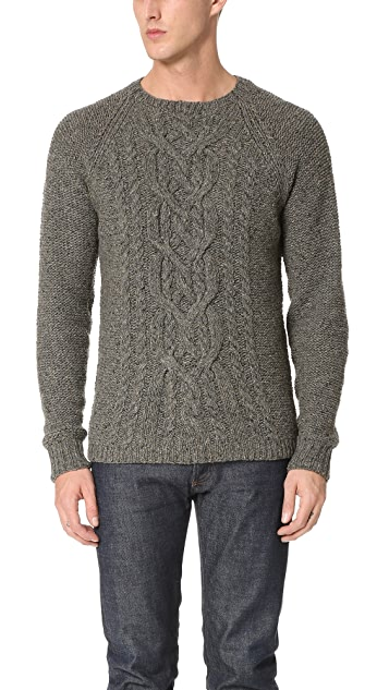 Alex Mill Wool Donegal Cable Crew Sweater
