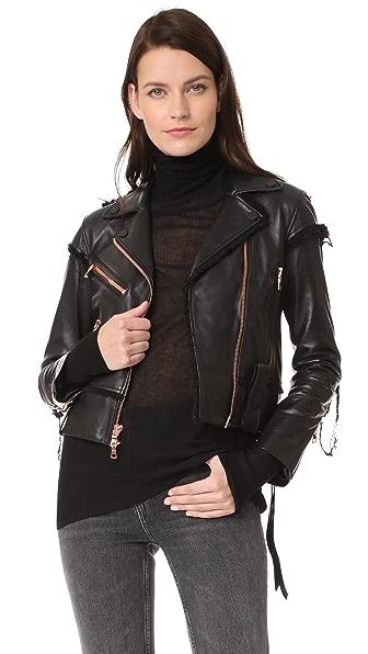 AMKIE Tar Moto Jacket In Black/Rose