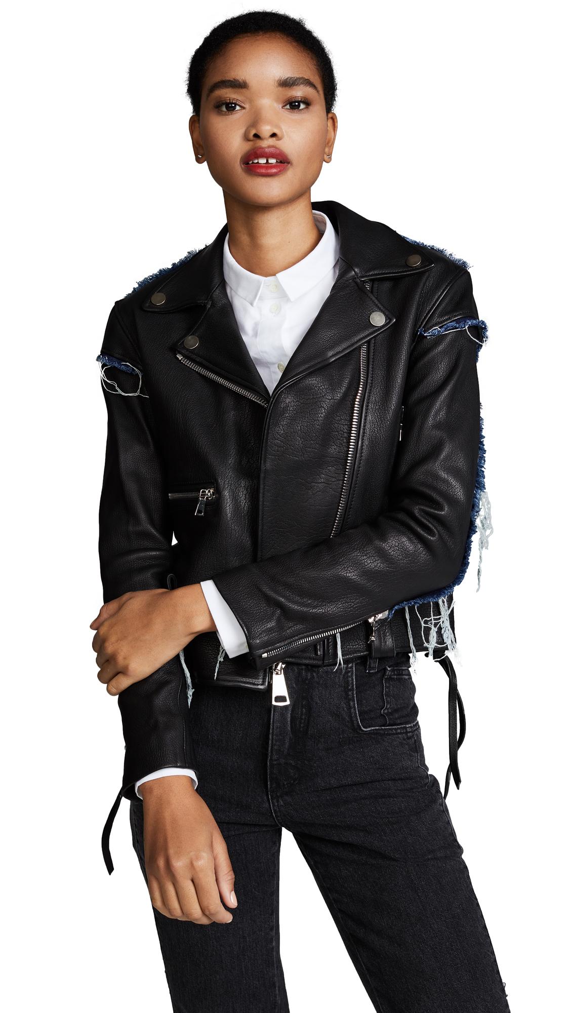 AMKIE The Denim Moto Jacket - Black