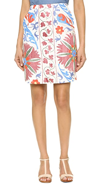 All Things Mochi Uzbek Short Skirt - Beige/Pink at Shopbop