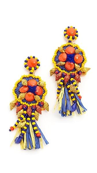 All Things Mochi African Raffia Coliseum Earrings