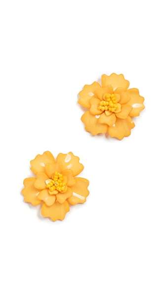 All Things Mochi Gardenia Earrings In Yellow