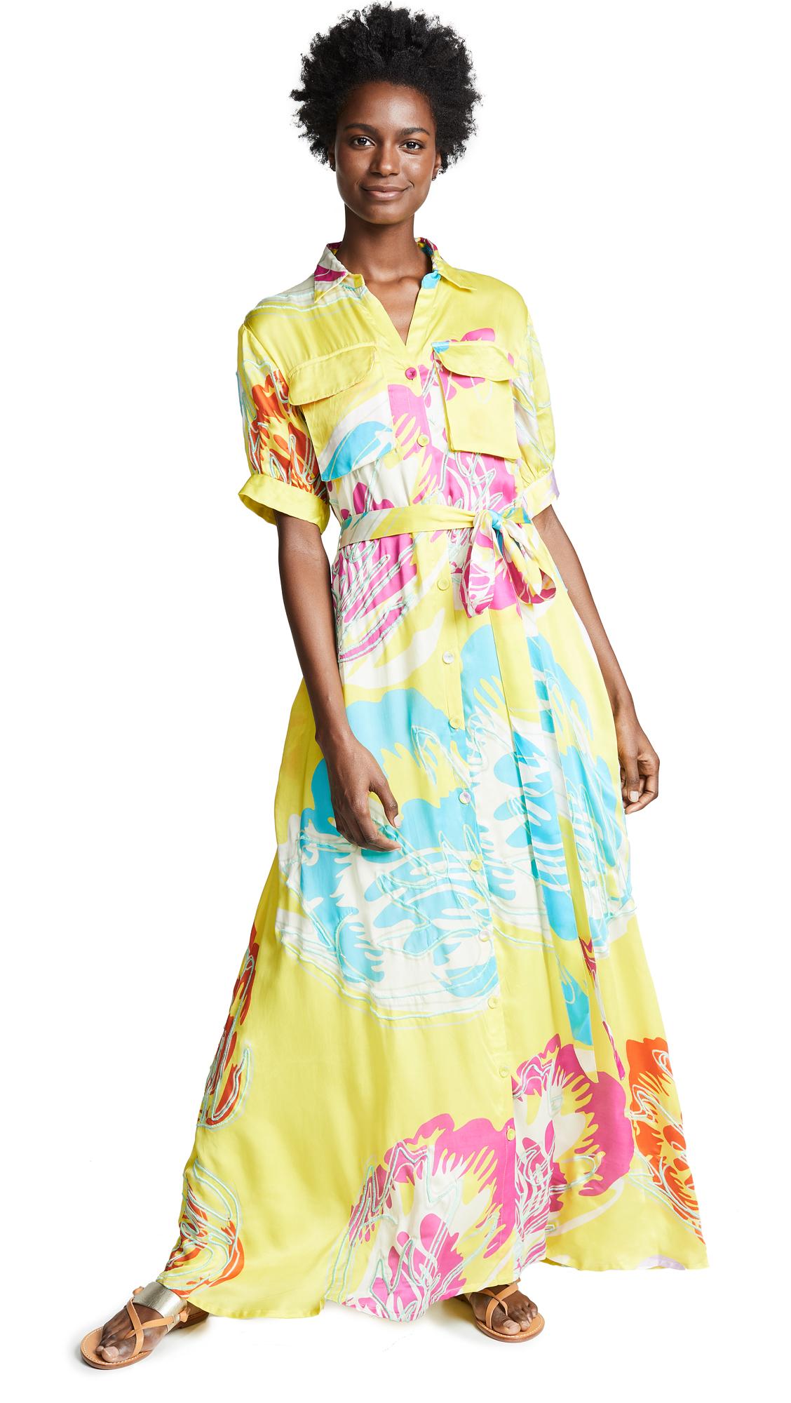 ALL THINGS MOCHI Prisha Printed Satin Maxi Dress in Yellow
