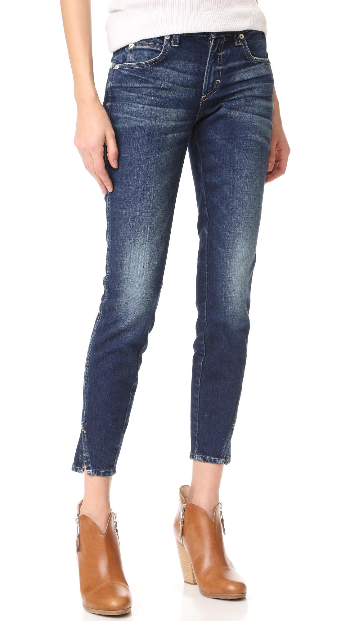 AMO Twist Skinny Ankle Jeans - True Blue