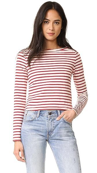AMO Boatneck Tee - Red Sailor Stripe