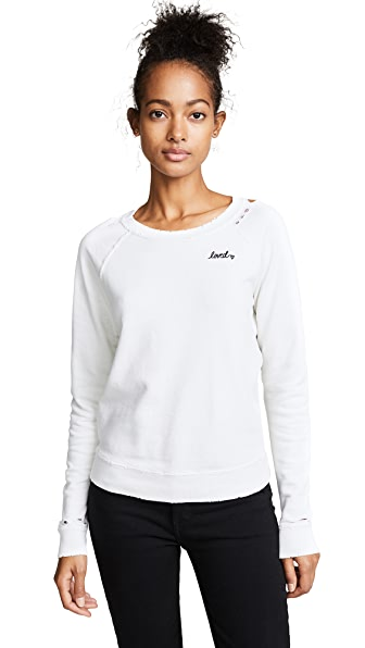 AMO Loved Sweatshirt In Vintage White With Destroy