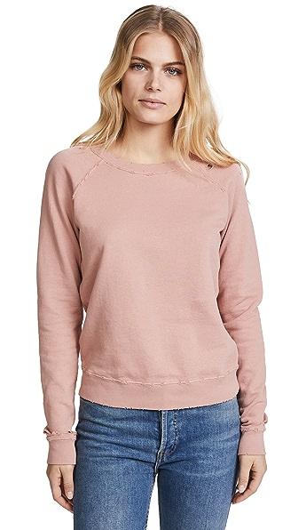 AMO Raglan Sweatshirt In Vintage Rose With Destroy