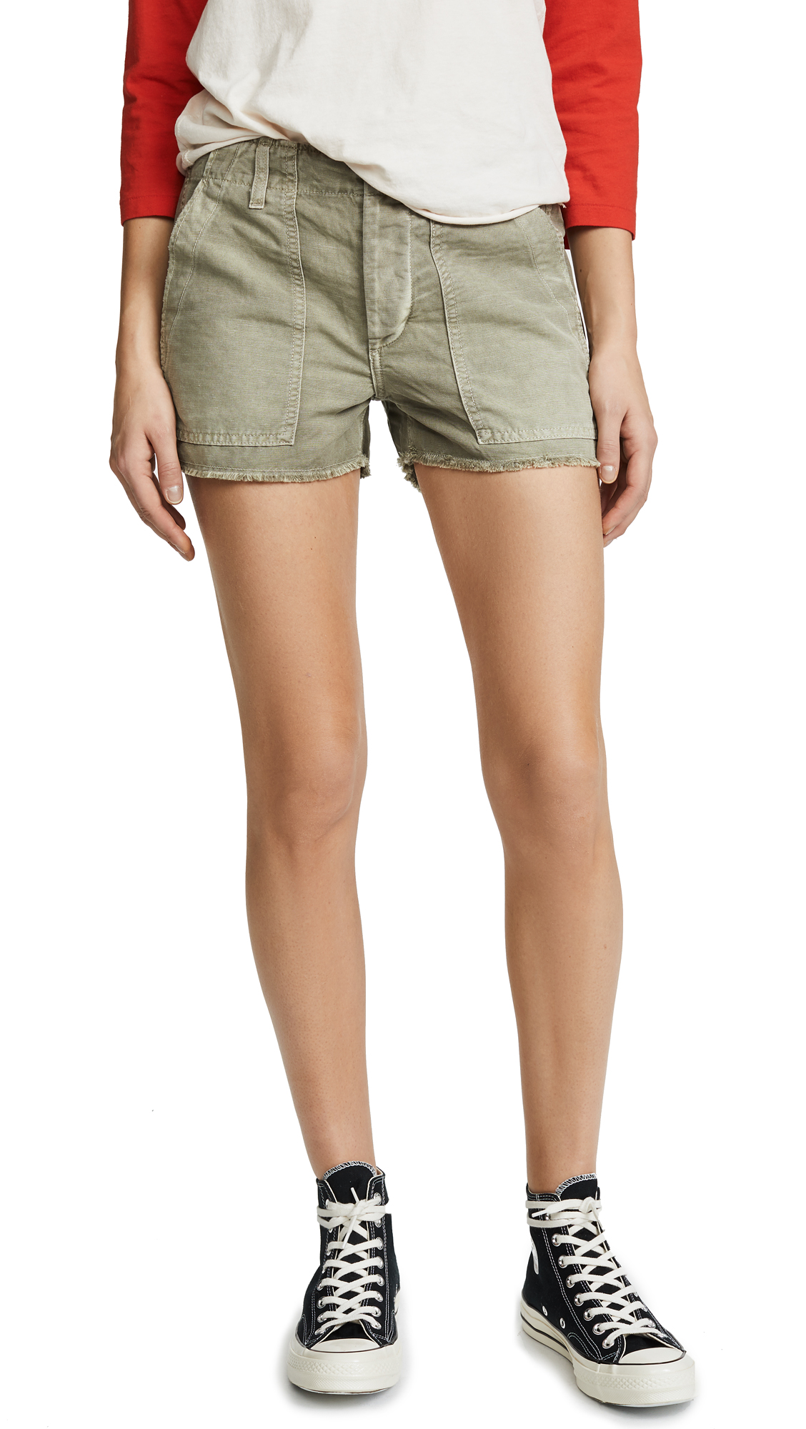 AMO Army Shorts In Grey Green