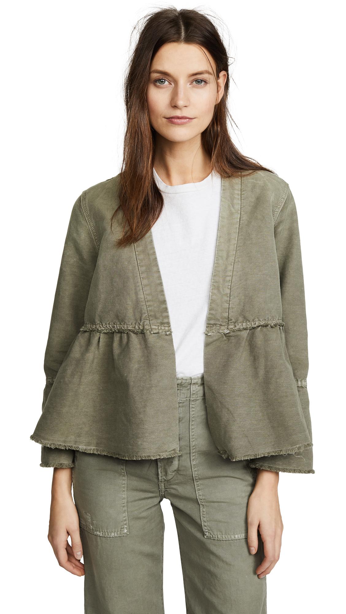 AMO Flounce Jacket In Grey Green