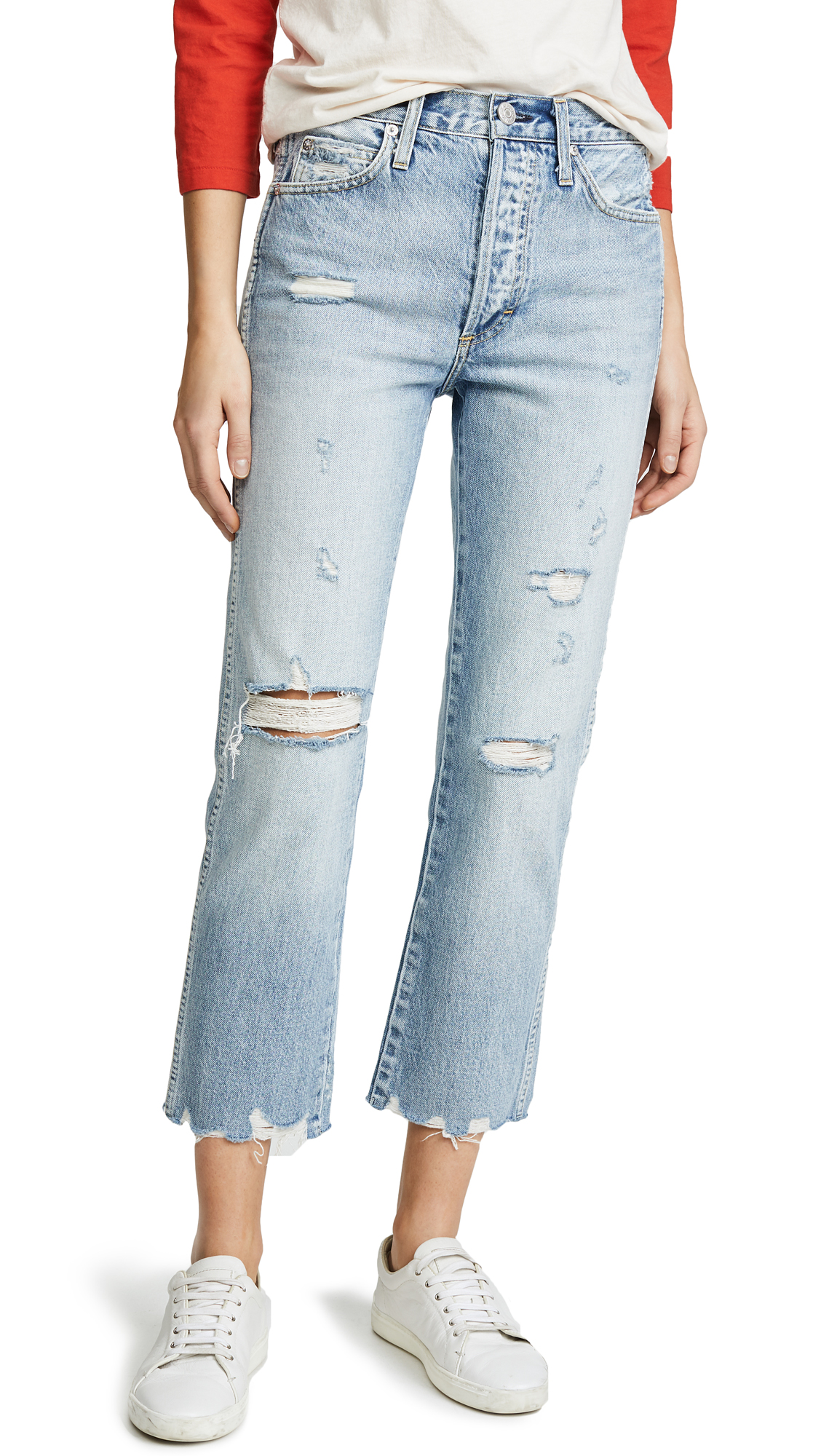 AMO Loverboy Relaxed Straight Leg Jeans In Retro
