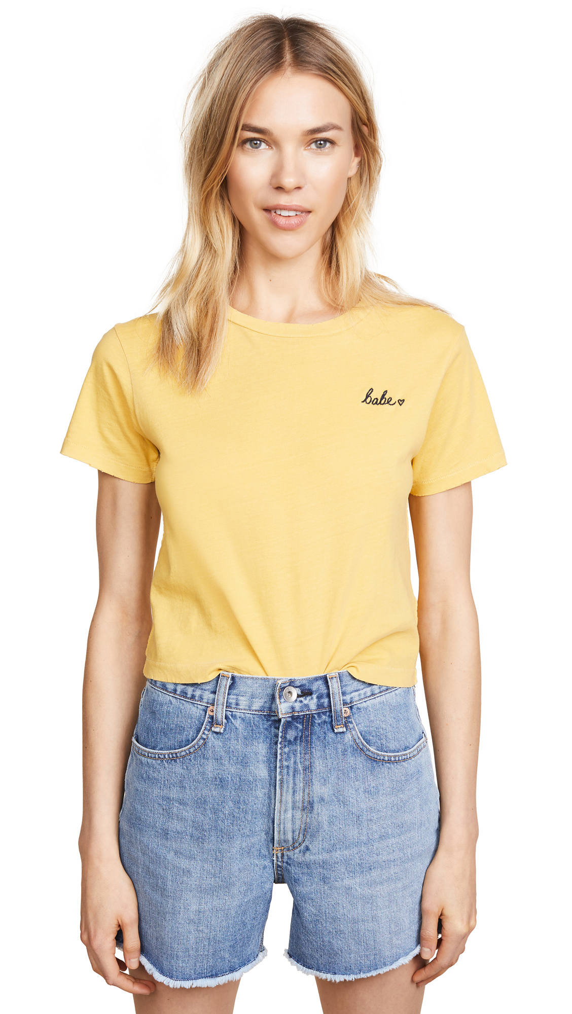 AMO Embroidered Tee In Marigold