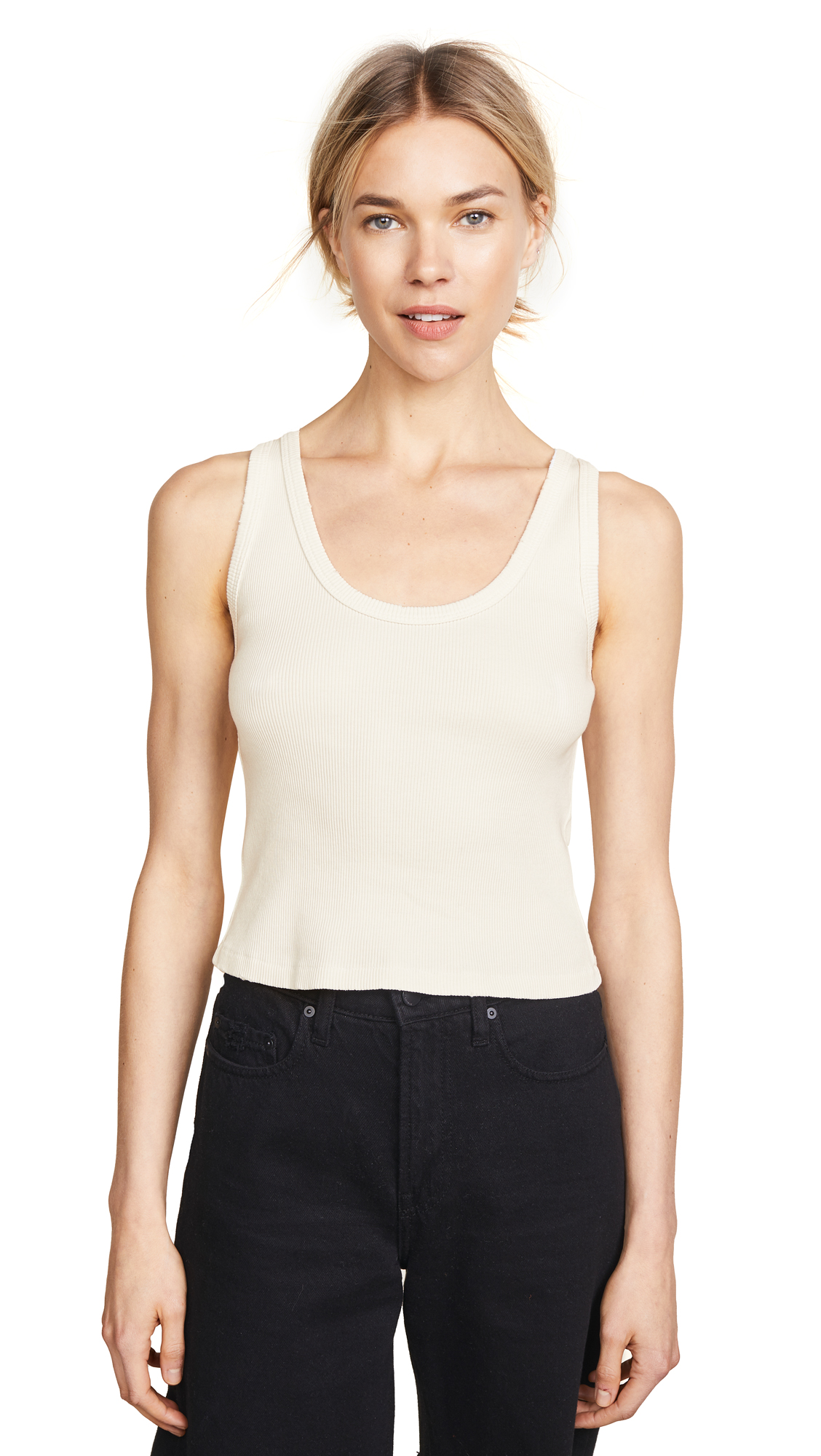AMO Crop Rib Tank In Vintage White
