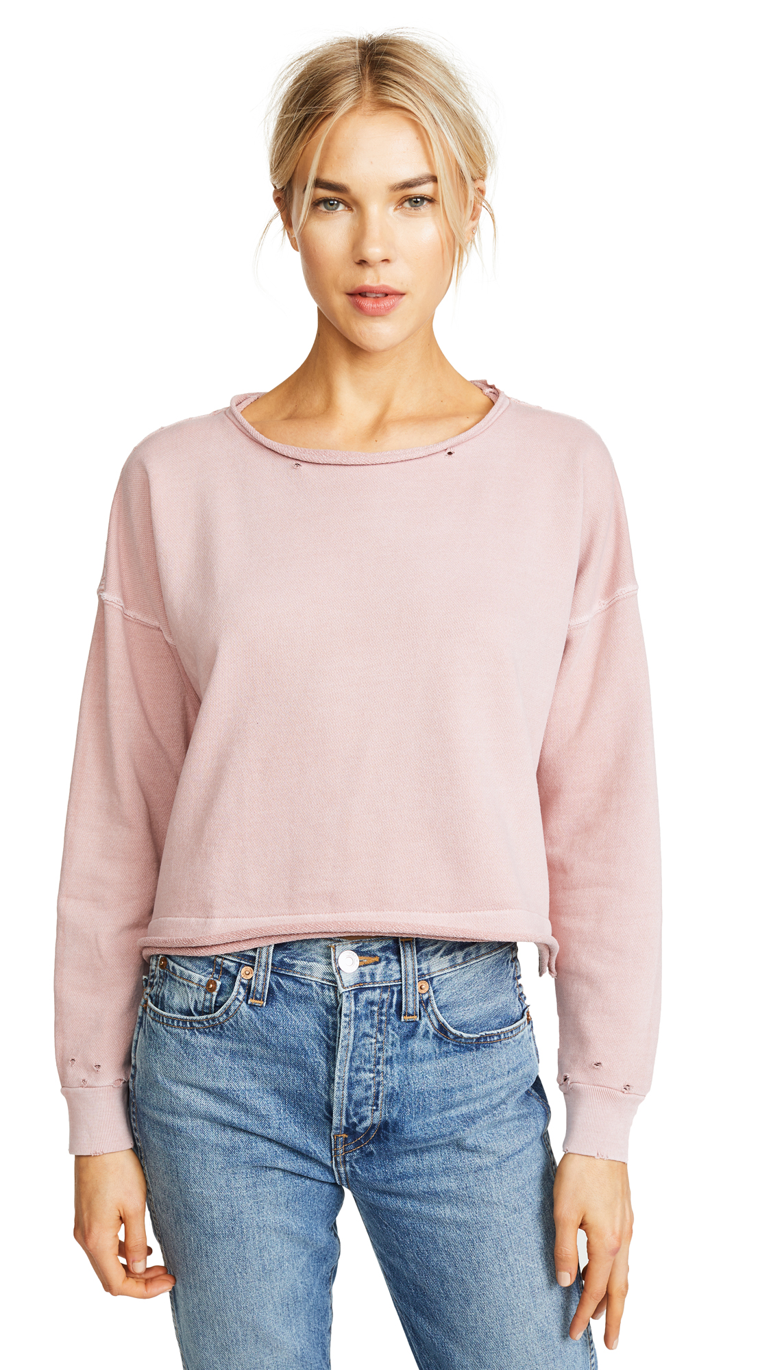 AMO Boxy Sweatshirt In Rose Gold With Destroy