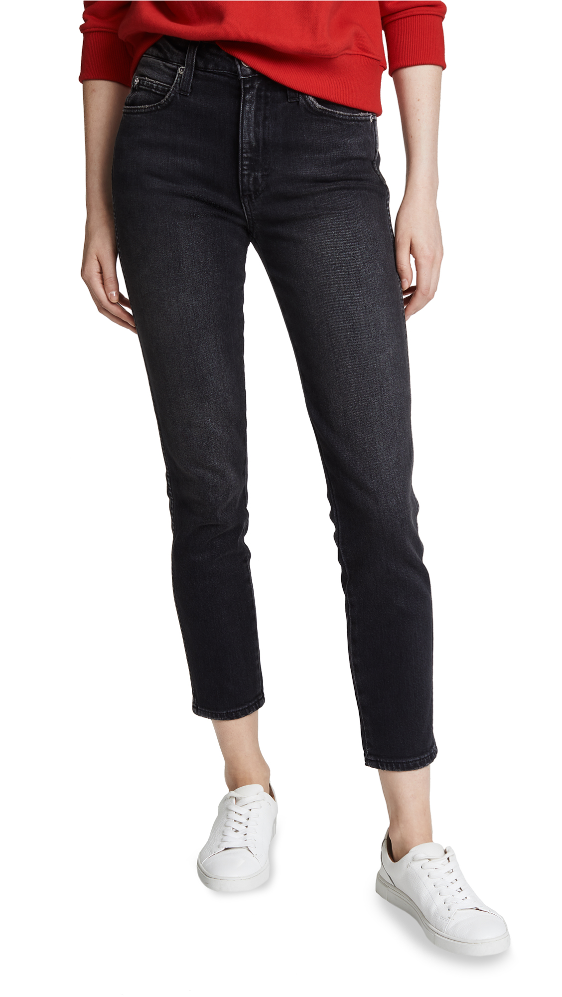AMO High Rise Stix Crop Jeans In Washed Black