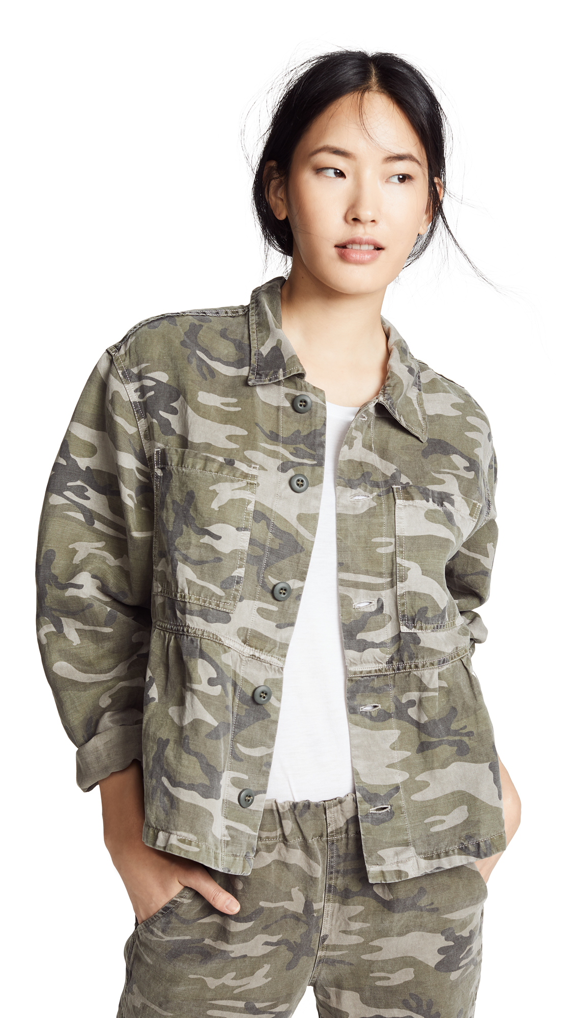 Cropped Rosie Jacket in Warm Grey Camo