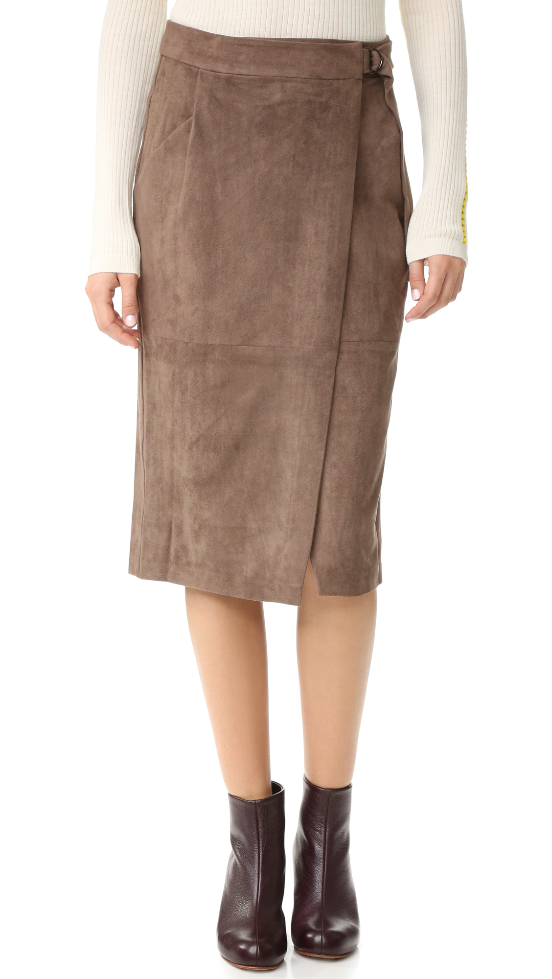 And B Ring Buckle Midi Skirt - Taupe at Shopbop