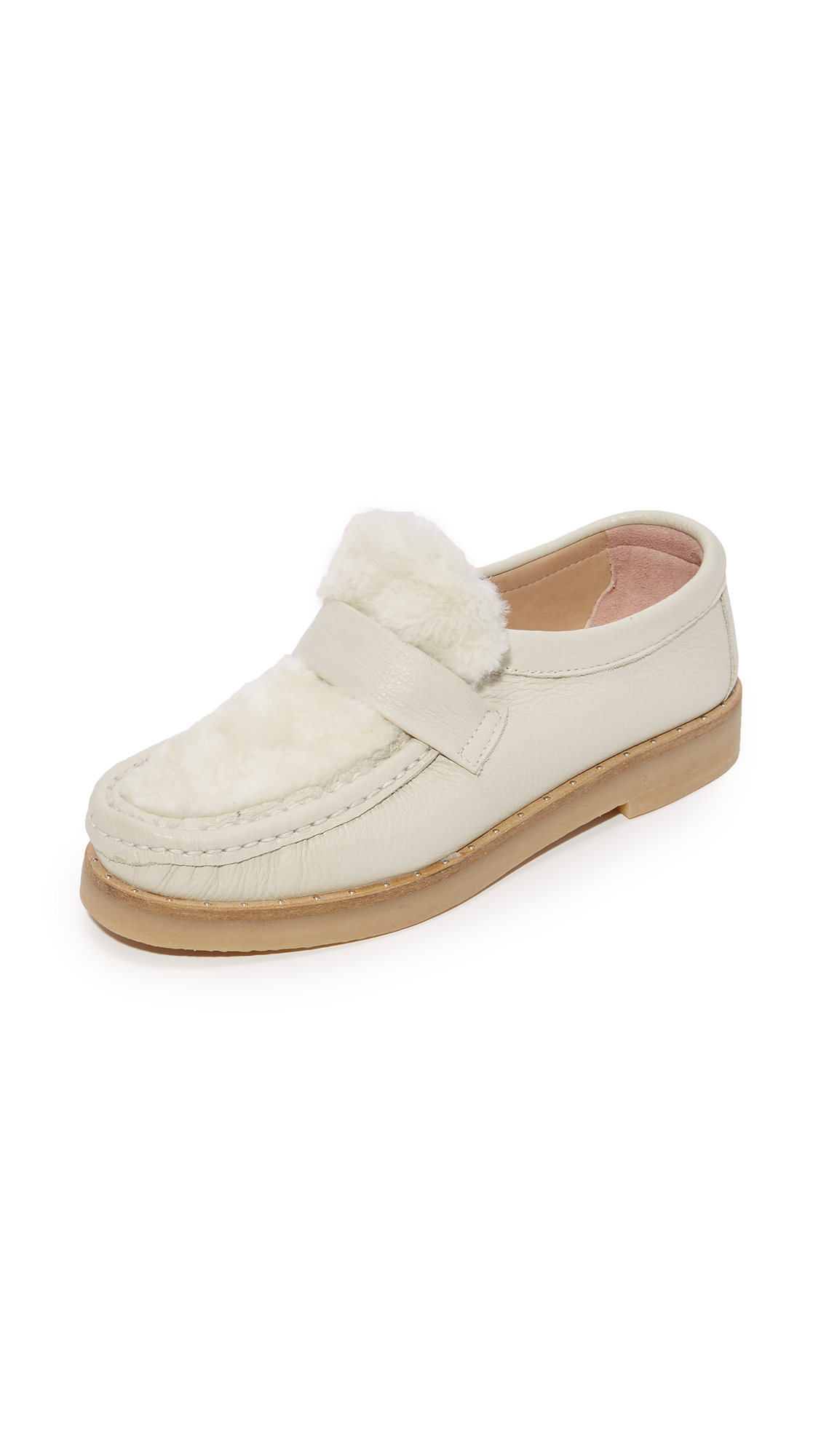 An Hour and A Shower Magna Slip On Shearling Loafers - Cream