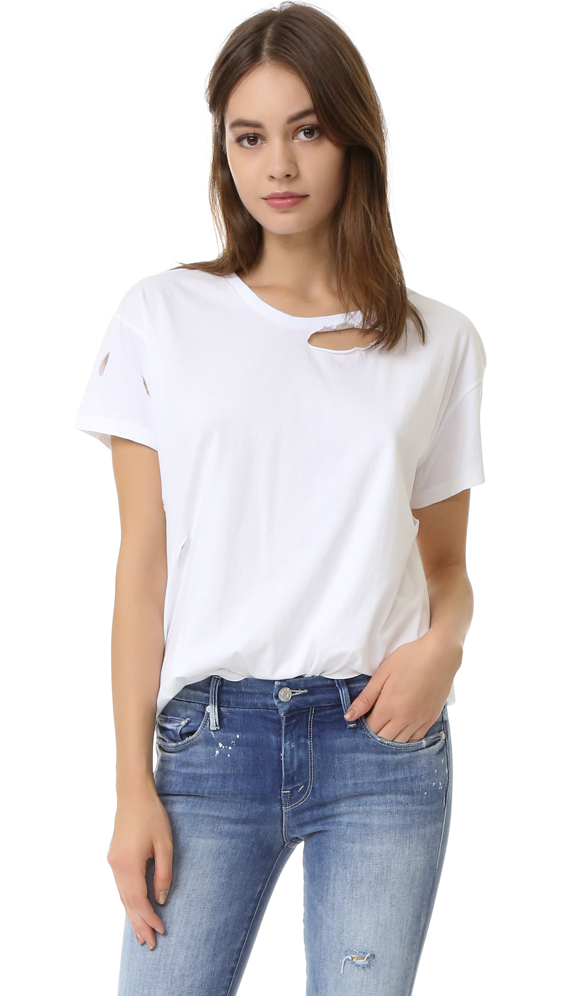 ANINE BING Distressed Tee - White