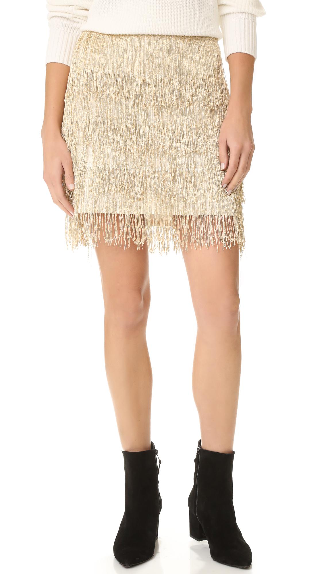 Anine Bing Fringe Skirt - Gold at Shopbop
