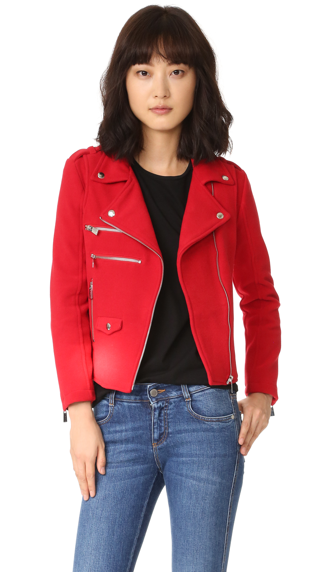 Anine Bing Biker Jacket - Red at Shopbop