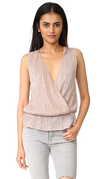 ANINE BING Draped Top - Rose Metallic