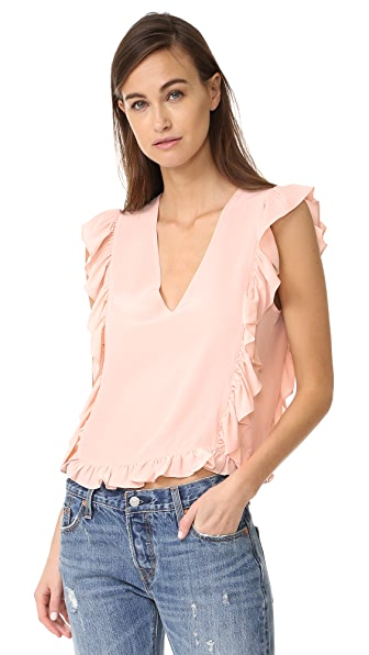 ANINE BING Frill V Neck Top - Pink