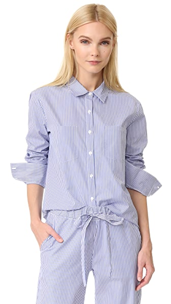 ANINE BING Striped Pajama Shirt In Blue