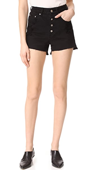 ANINE BING High Waisted Denim Shorts - Black