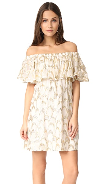 ANINE BING Off Shoulder Dress In Gold