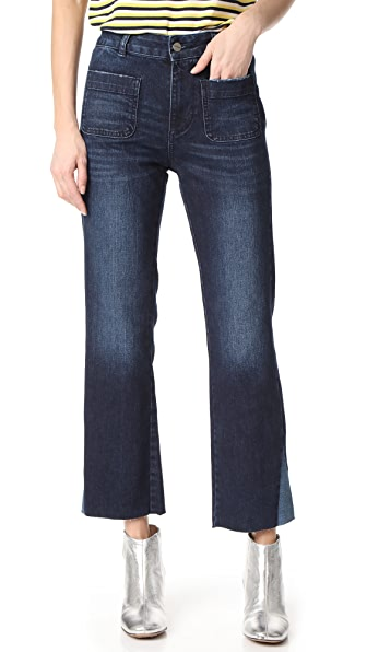 ANINE BING Contrast Insert Jeans - Washed Blue