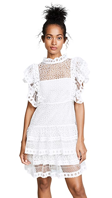 ANINE BING Tiered Lace Dress