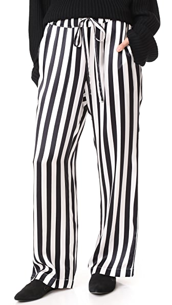ANINE BING Satin Pajama Pants - Black/White