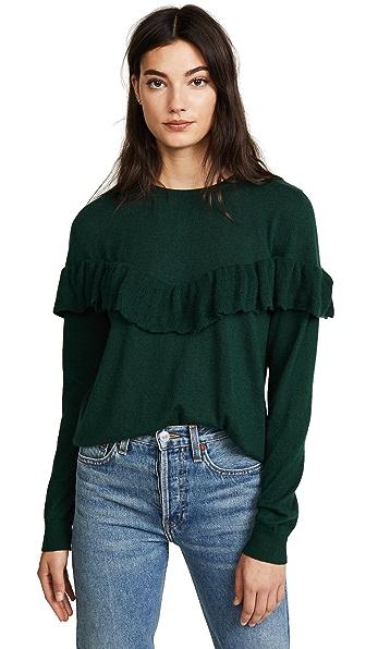 ANINE BING Cashmere Ruffle Knit Sweater In Emerald